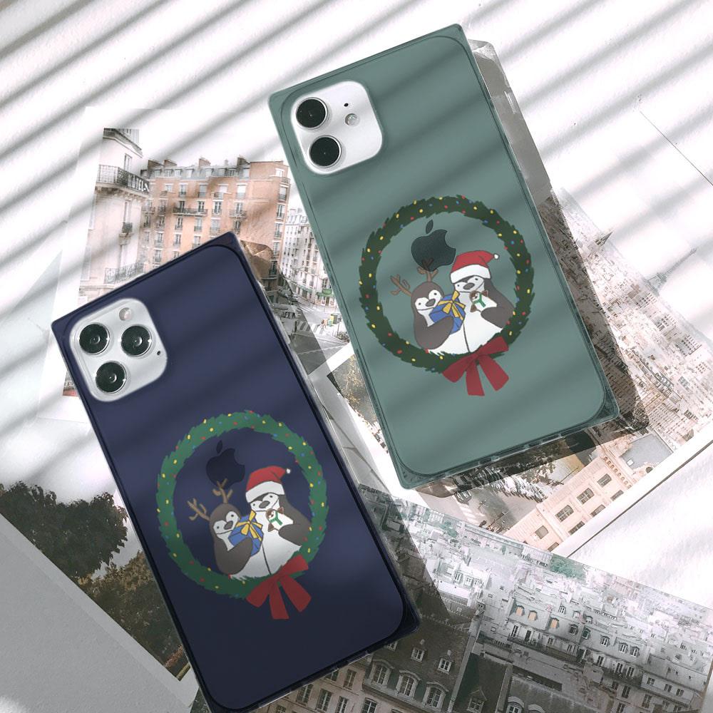 마롱 메리크리스마스 펭귄 아이폰큐브케이스